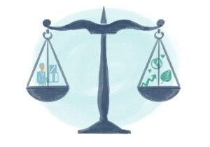 Finance à impact, illustration d'une balance